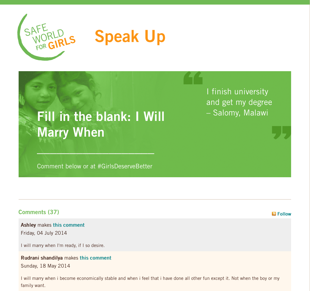 Engagement page featuring large graphic encouraging users to fill in the blank: I WILL MARRY WHEN__. The page includes several comments in response
