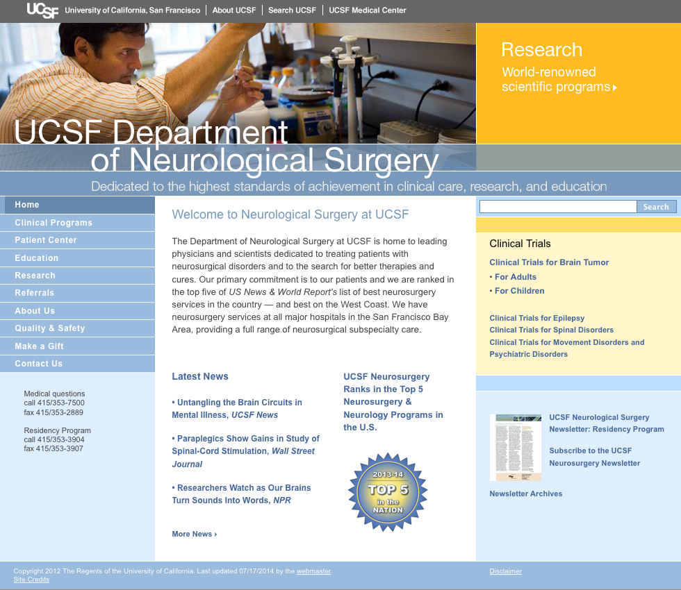 UCSF Department of Neurological Surgery website