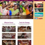 homepage of globalfundforwomen.org showing three-column layout with prominent engagement and donation opportunities