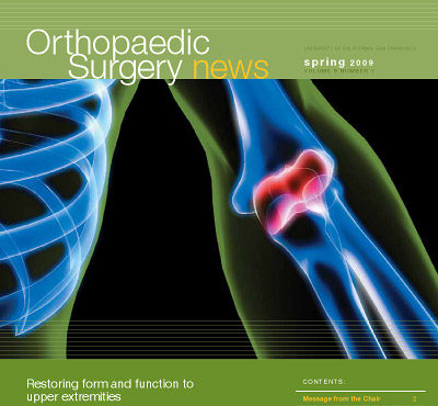 Cover of Orthopaedic Surgery News showing a graphic of the bones of the arm and elbow