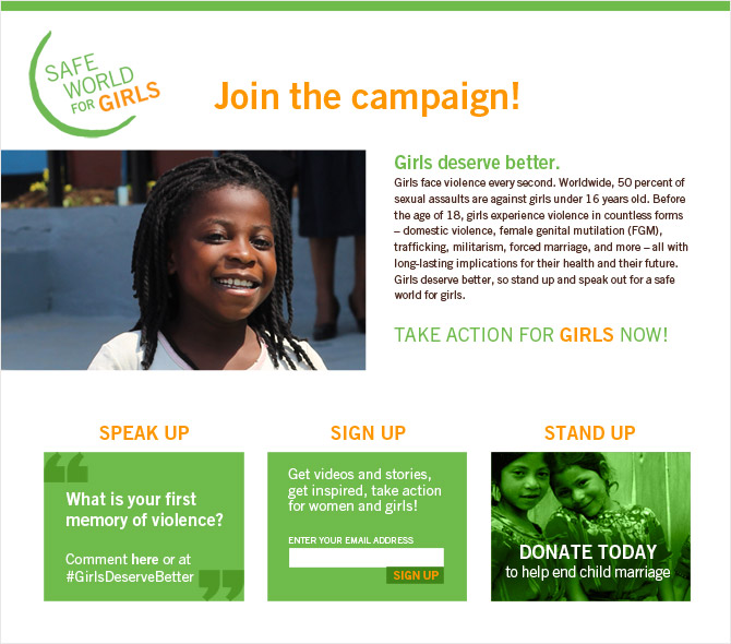 Safe World for Girls landing page featuring a smiling African girl, and three action opportnities: SPEAK UP, SIGN UP, and STAND UP