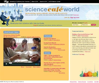 screenshot of Science Café World homepage