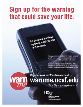 flyer with similar design to the cell phone poster above, but additional language instructing readers how to set up their WarnMe account